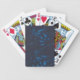 Abstrakte blaue Formen auf Marine-schwarzen Bicycle Spielkarten