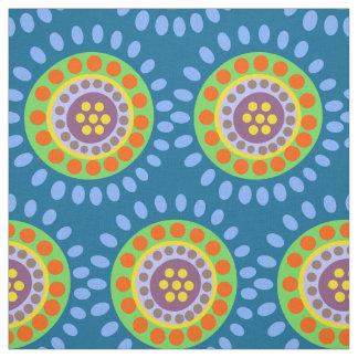 Abstrakte blaue orange lila Blumen Stoff