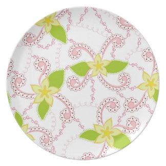 Abstrakte Blume bunt auf weißer Platte Melaminteller