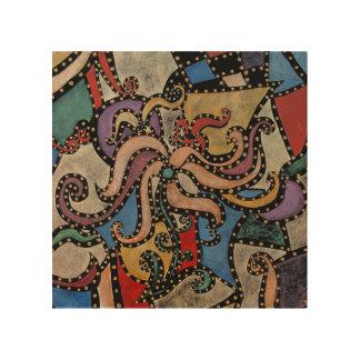 Abstrakte Blumen von der ursprünglichen Malerei Holzwanddeko