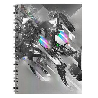 Abstrakte coole Umwandlungs-Robotik Spiral Notizbücher