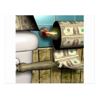 Abstrakte Dollar-Toiletten-Rechnungen Postkarte
