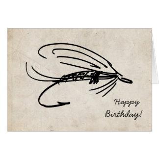 Abstrakte Fliegen-Fischen-Geburtstags-Karte