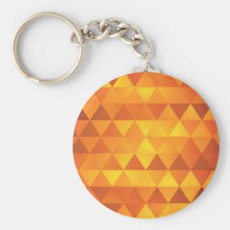 Abstrakte gelbe Dreiecke Standard Runder Schlüsselanhänger