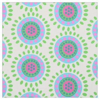 Abstrakte grün-blaue und rosa Blumen Stoff