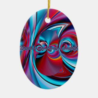 abstrakte Kunst blau und Rot geschaffen durch Ovales Keramik Ornament