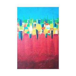 Abstrakte Malerei des roten Regens auf Leinwand Gespannte Galeriedrucke