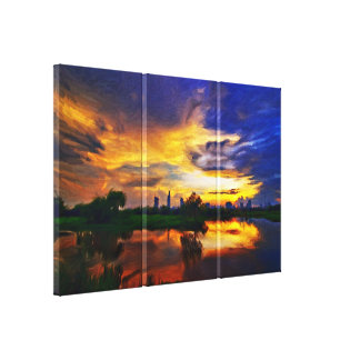 Abstrakte Malerei des Sonnenaufgangs | Gespannter Galeriedruck