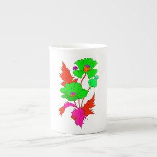 Abstrakte Mohnblume und Marienkäfer Porzellantasse