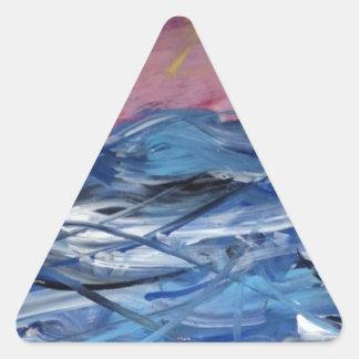 Abstrakte Ozean-Wellen und Einstellung Sun Dreieckiger Aufkleber