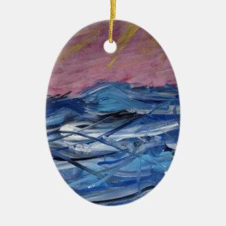 Abstrakte Ozean-Wellen und Einstellung Sun Ovales Keramik Ornament