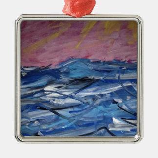 Abstrakte Ozean-Wellen und Einstellung Sun Quadratisches Silberfarbenes Ornament