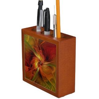 Abstrakte rote orange Fraktal-Kunst-Blume Browns Stifthalter