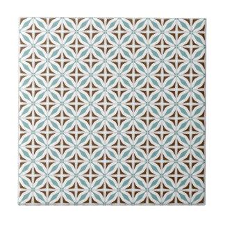 Abstrakte Safari-geometrischer Muster-Türkis Kleine Quadratische Fliese
