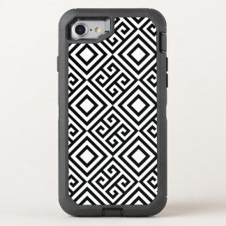 Abstrakte Schwarz-weiße geometrische Linie Muster OtterBox Defender iPhone 7 Hülle