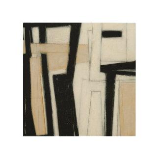 Abstrakte schwarze u. weiße Malerei Holzleinwand