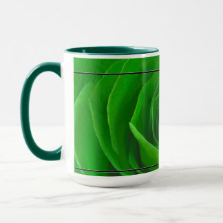 Abstrakte Smaragdgrün-Rosen-Mitte-Fotografie Tasse