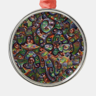 Abstrakte tiefe Traumgrafik Rundes Silberfarbenes Ornament