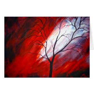Abstrakter Baum und roter Himmel Karte