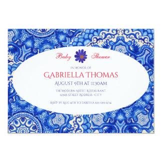 Abstrakter blauer Wirbel - Baby-Duschen-Einladung 12,7 X 17,8 Cm Einladungskarte
