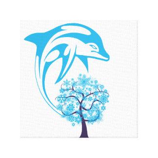 Abstrakter Delphin eingewickelte Leinwand Galerie Gefaltete Leinwand