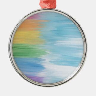 Abstrakter Regenbogen Rundes Silberfarbenes Ornament