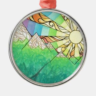 Abstrakter Regenbogensun-Einstellungs-Watercolor Rundes Silberfarbenes Ornament