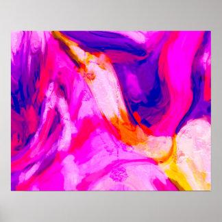 Abstrakter rosa und blauer Entwurf Poster