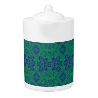 abstrakter Teetopf des grünen/blauen Musters