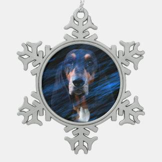Abstrakter tricolor Dachshund-Jagdhund Schneeflocken Zinn-Ornament