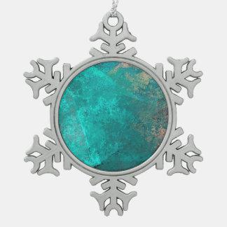 abstrakter Türkis aquamariner Schneeflocken Zinn-Ornament
