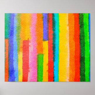 Abstrakter Watercolor Stripes feine Kunst-Malerei Poster