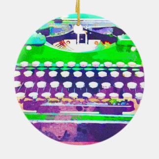 Abstrakter Watercolor - Vintage Schreibmaschine Rundes Keramik Ornament