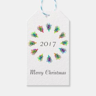 Abstrakter Weihnachtsbaum-Geschenkumbau Geschenkanhänger