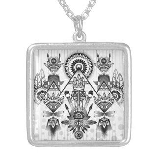 Abstraktes altes gebürtiges indisches Stammes- Halskette Mit Quadratischem Anhänger