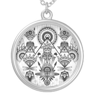 Abstraktes altes gebürtiges indisches Stammes- Halskette Mit Rundem Anhänger