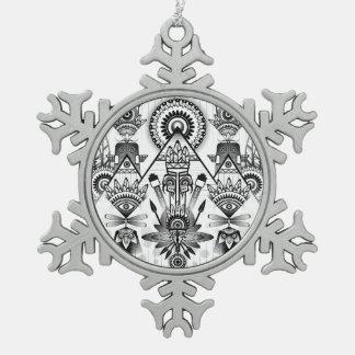 Abstraktes altes gebürtiges indisches Stammes- Schneeflocken Zinn-Ornament