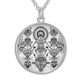 Abstraktes altes gebürtiges indisches Stammes- Sterling Silberkette