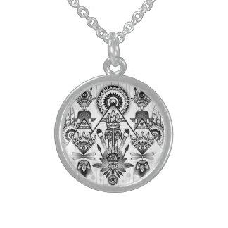 Abstraktes altes gebürtiges indisches Stammes- Sterlingsilber Halsketten