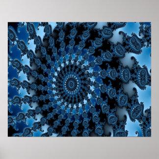 Abstraktes blaues Eis-Muster Poster