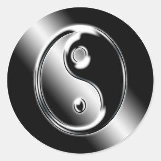 Abstraktes cooles Chrom Ying Yang Aufkleber
