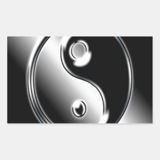 Abstraktes cooles Chrom Ying Yang Rechrteckaufkleber