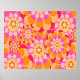 Abstraktes Entwurfs-Rosa mit Blumen Poster