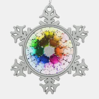 Abstraktes Farbrad Schneeflocken Zinn-Ornament