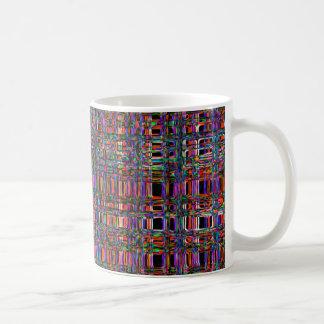 Abstraktes glühendes Neon zeichnet Muster Tasse