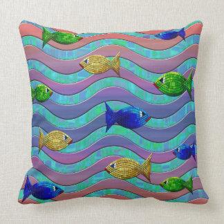Abstraktes lila blaues Fischdekorkissen Kissen