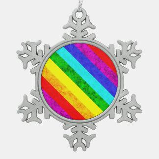 Abstraktes Muster des Regenbogens Schneeflocken Zinn-Ornament