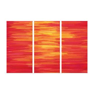 Abstraktes Retro Rotes der Malerei-| und gelb Gespannter Galerie Druck