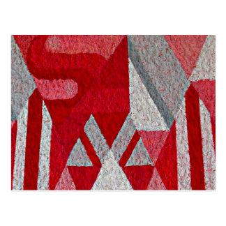 Abstraktes rosa, rotes und graues Wandgemälde Postkarte