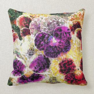 Abstraktes Stiefmütterchen-Blumen-Dekorkissen Kissen